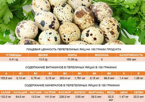 пищевая ценность перепелиных яиц