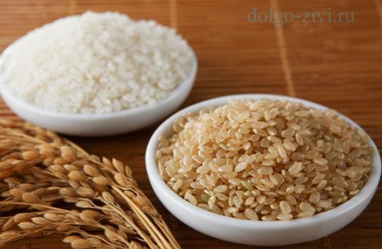 коричневый и белый рис
