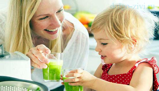 мама и дочка пьют смузи