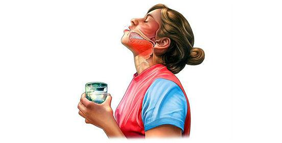 схема полоскания горла