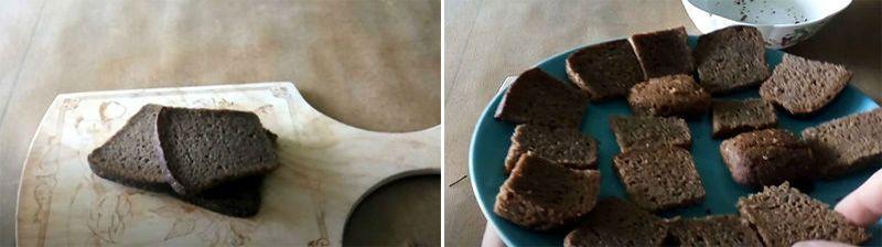 хлеб подсушиваем в духовке