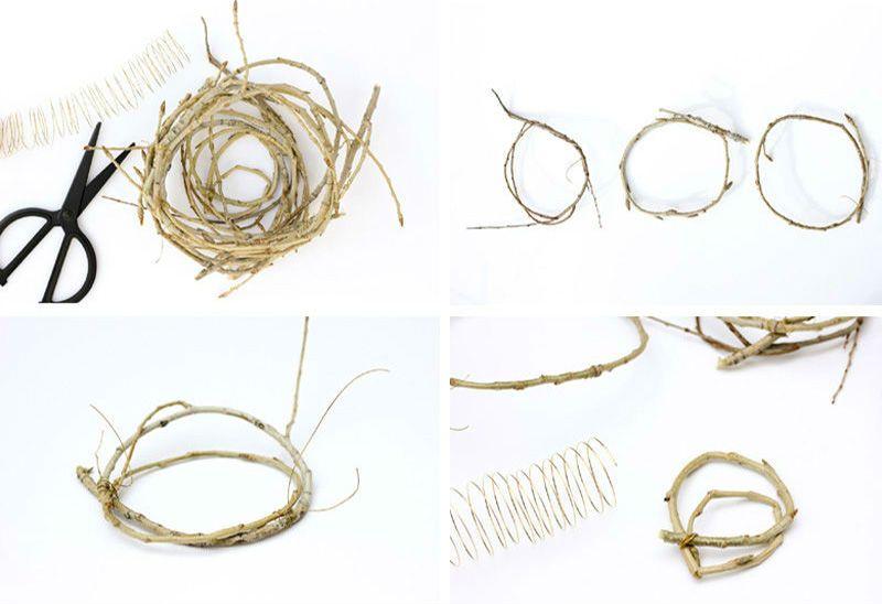 изготовление гнезда из веток