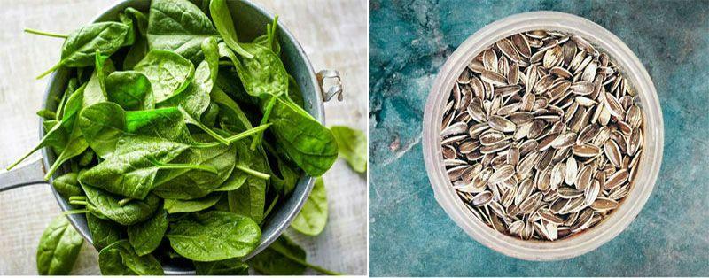 шпинат и семечки