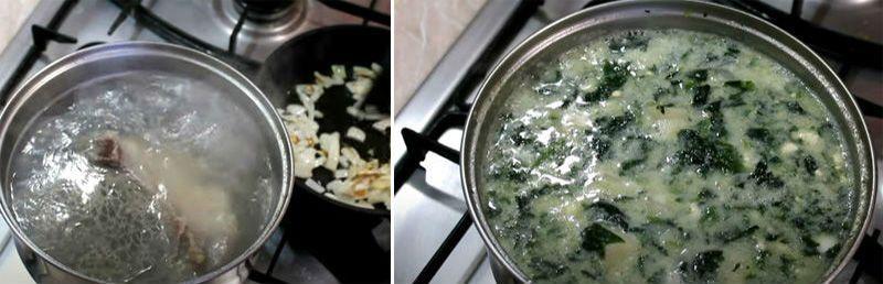 варится зеленый суп