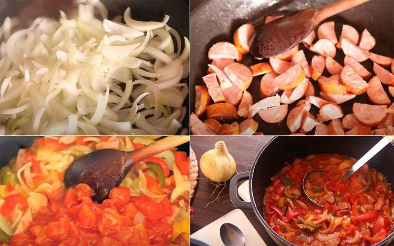 приготовление лечо с колбасой