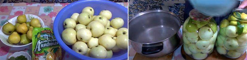 приготовление яблочно-грушевого компота