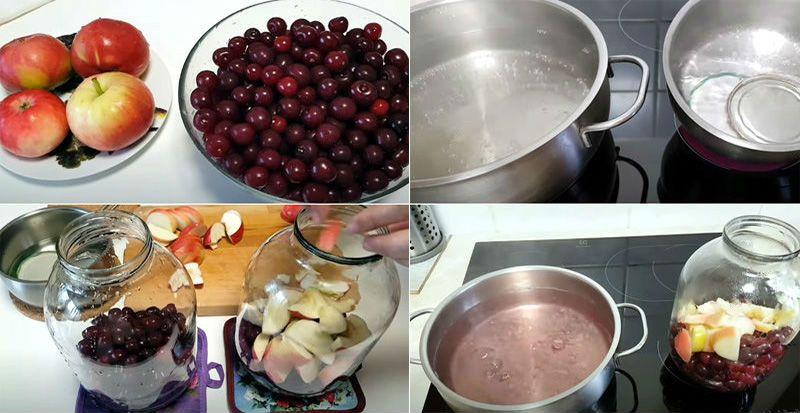 приготовление яблочно-вишневого компота