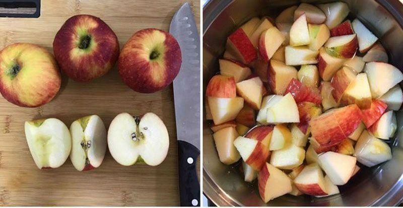 резка яблок