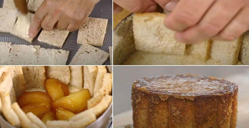 хлебные куски выкладываем на дно формы