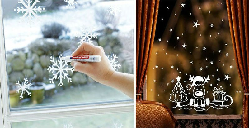 рисовать снежинки на окнах гуашью