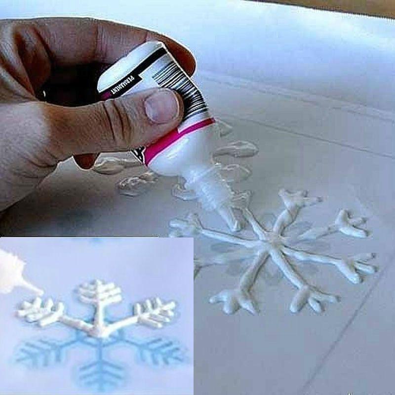 рисовать снежинки ПВА