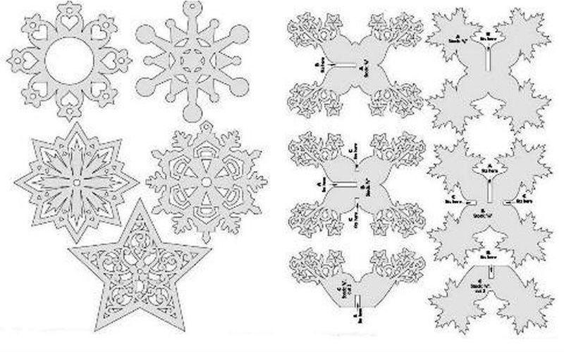 шаблоны для выпиливания снежинок