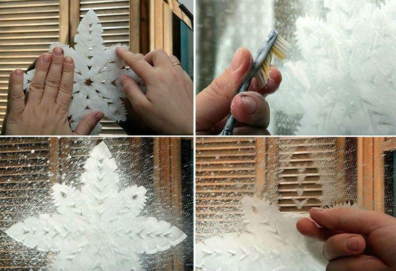 снежинки с помощью зубной пасты