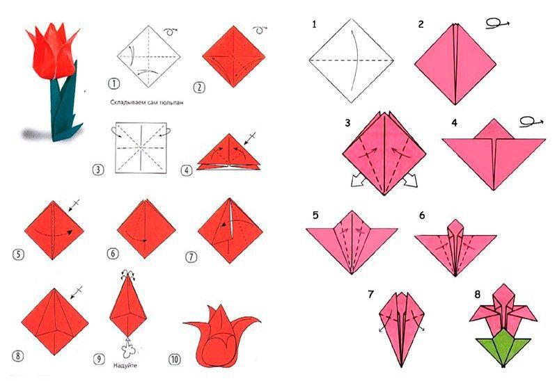 схемы цветов оригами