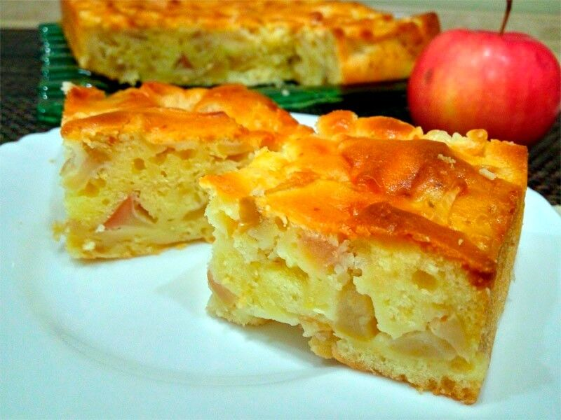 рецепт пирога на кефире с яблоками